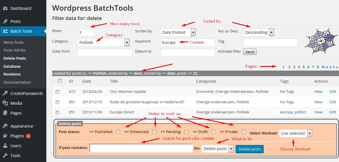 Wordpress-BATCH-Tools Delete posts