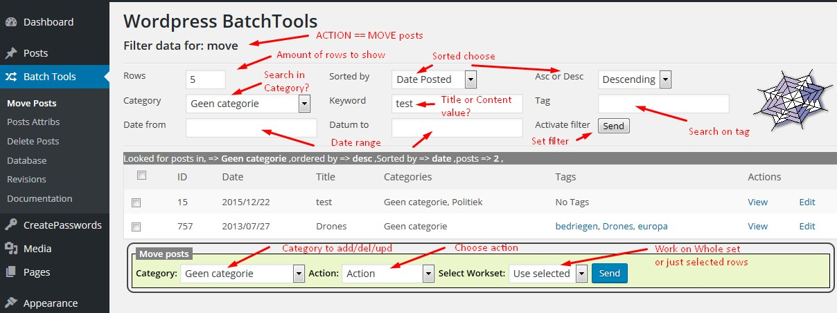Wordpress-BATCH-Tools moving posts from category